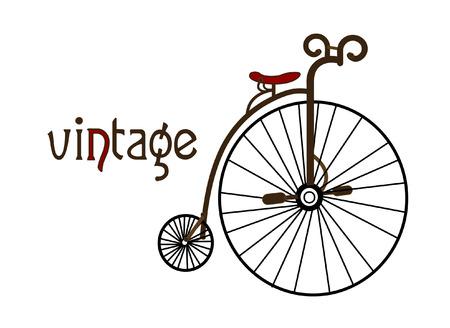 circus bike: vieja bicicleta sobre un fondo blanco crea una imagen en el estilo de cosecha