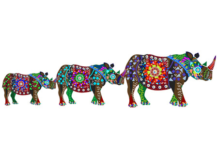 pachyderm: family of rhinos in the ethnic style on a white background Illustration