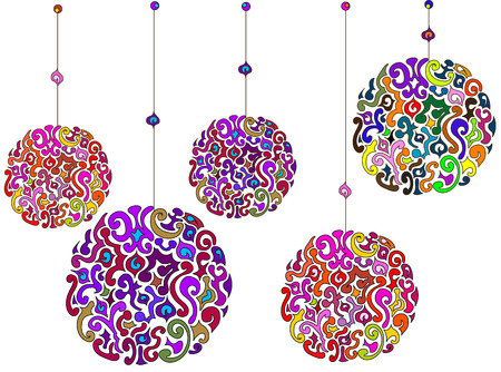 bright abstract decorations of various elements on a white background