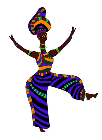 merrily: Woman in ethnic style dancing merrily their religious dances Illustration