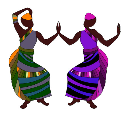 ethnic people in beautiful clothes dancing on a white background