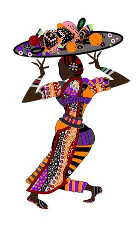 ethnic dress: persone in abito etnica con un delizioso pasto astratto per voi