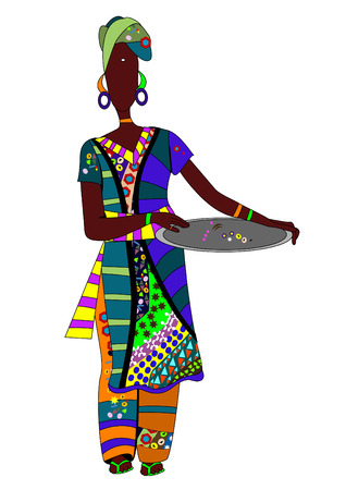 dexterity: ethnic woman in a beautiful colored clothing is a dish for eating Illustration