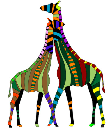 white background giraffe: two abstract giraffe from the various elements on a white background