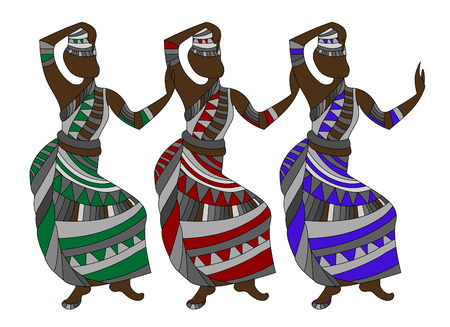 group of people in ethnic style dancing on a white background Stock Vector - 6055685