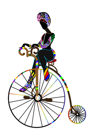 entertainer: woman in ethnic style, performs his circus bicycle Illustration