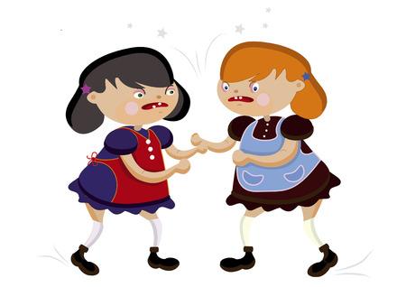 conflictos sociales: Dos divertida ni�a ruidosamente Jura sobre un fondo blanco