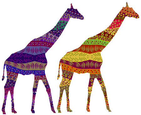 Two giraffe in the ethnic style of a compelling design Stock Vector - 6134293