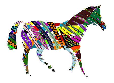 dobbin: abstract horse or a zebra in the ethnic style on a white background