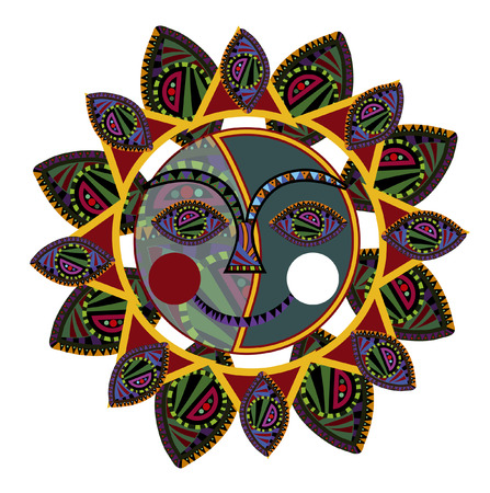 folk art: sun of the various elements in the ethnic style on a white background