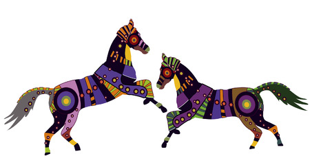 horse show: Horses in the ethnic style of the various elements on a white background