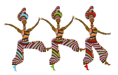 show folk: group of people in ethnic style dancing on a white background