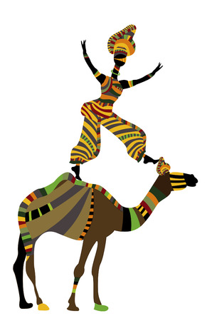 woman performs acrobatics with a camel in ethnic style Vector