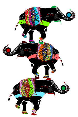 ornamented elephants in the ethnic style of performing their circus performance