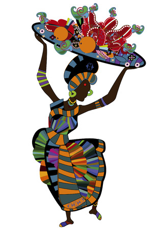 dexterity: woman in ethnic style with a plate of food for you Illustration