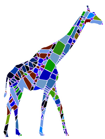 abstract giraffe from the various elements on a white background Stock Vector - 6267116