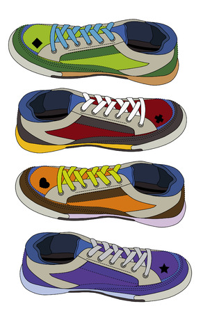 personal training: different colored sneakers for girls on a white background
