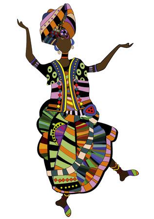 danza africana: donna in stile etnico ballare la sua bella danza africana Vettoriali
