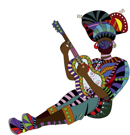 people in ethnic dress playing the guitar his beautiful music Vector