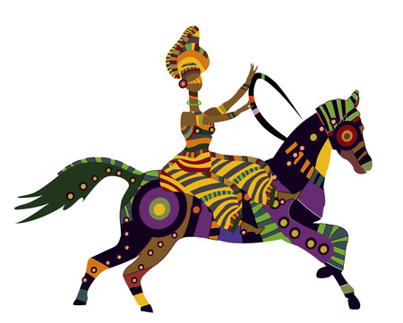 woman on horseback in the ethnic style on a white background Illustration
