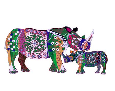 Nashörner aus verschiedenen Elementen in der ethnischen Stil auf weißem Hintergrund  Vektorgrafik