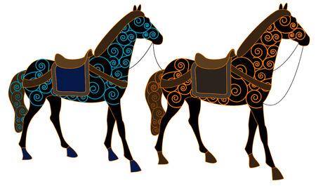 caballo jinete: Dos caballos modeladas en estilo étnico sobre un fondo blanco