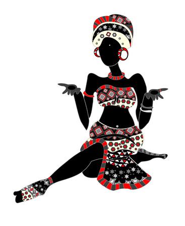 danza africana: con motivi africani in stile etnico, seduta su uno sfondo bianco