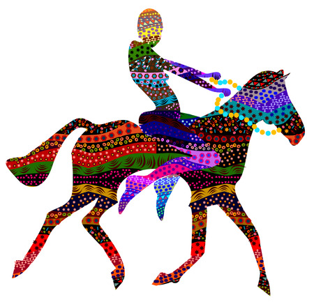 abstract man sitting on the backs of wild horses in ethnic style Vector
