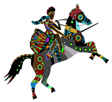 lord: woman rider sits on the back of a horse and holding his ancient sword