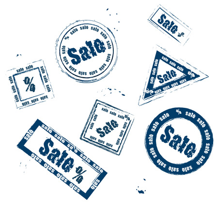 set of different stamps for sale on a white background Vector