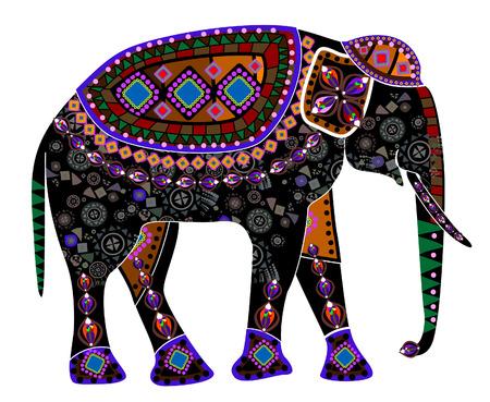 ethnics: elefante da diversi elementi in stile etnico su uno sfondo bianco  Vettoriali