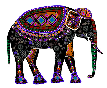 elephant from different elements in the ethnic style on a white background