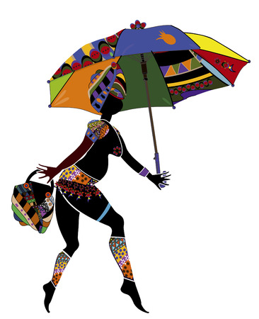 ethnics: woman in ethnic style with an umbrella and a bag on a white background