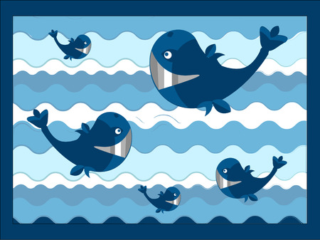 funny background with the fish and the ocean Vector