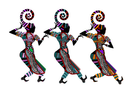 women in fashionable dress dancing on a white background in ethnic style