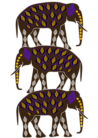 elephants in the ethnic style, are a symbol of protection Vector