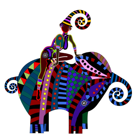 girl sitting on elephant back in the ethnic style on a white background Vector