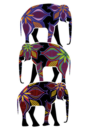 elephants in the ethnic style on the backs of each other on a white background Vector