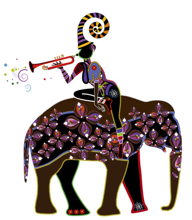 dexterity: woman playing fun music on the back of an elephant in ethnic style Illustration