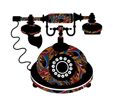 old phone patterned on a white background Vector