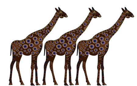 giraffes in ethnic style on a white background Stock Vector - 6719269