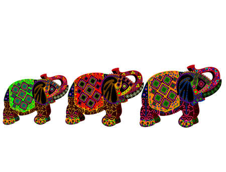 three patterned elephant in the ethnic style on a white background Vector