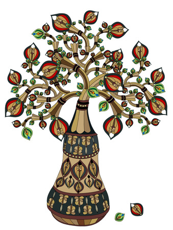 bringing: beautiful abstract tree in ethnic style, bringing good luck Illustration