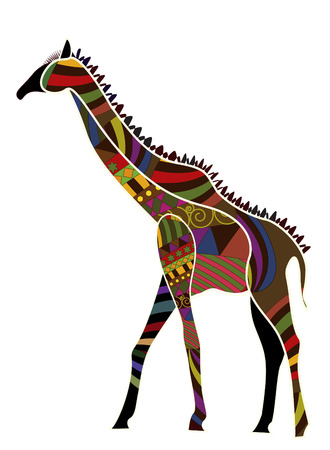 ethnics: giraffe from various elements in the ethnic style on a white background Illustration