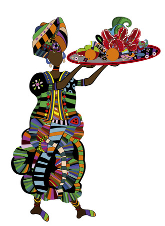 dexterity: woman with a meal on a white background in ethnic style Illustration