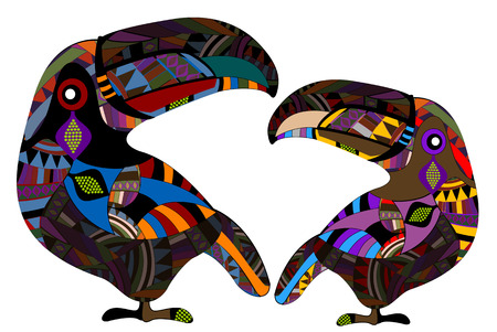 toucan: two birds in the ethnic style is the symbol of happy love