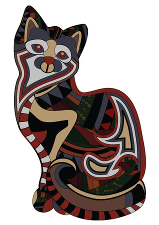 patterned cat in ethnic style is a symbol of happiness and protection Vector