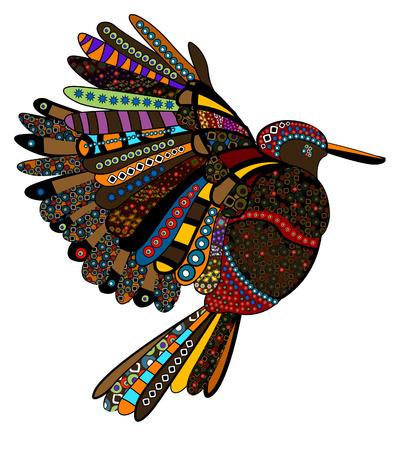 ethnics: uccello con motivo in stile etnico con uno sfondo bianco