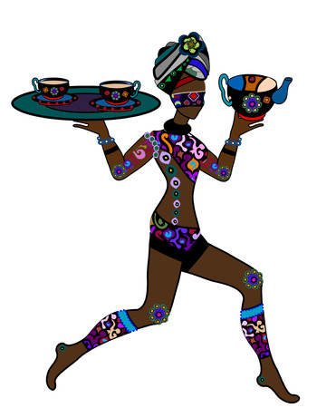 Woman in ethnic style is in the hands of Indian tea Vector