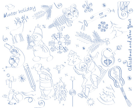 holiday set in the form of a pencil sketch Vector